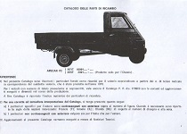 Ape Car P2 - Catalogo ricambi