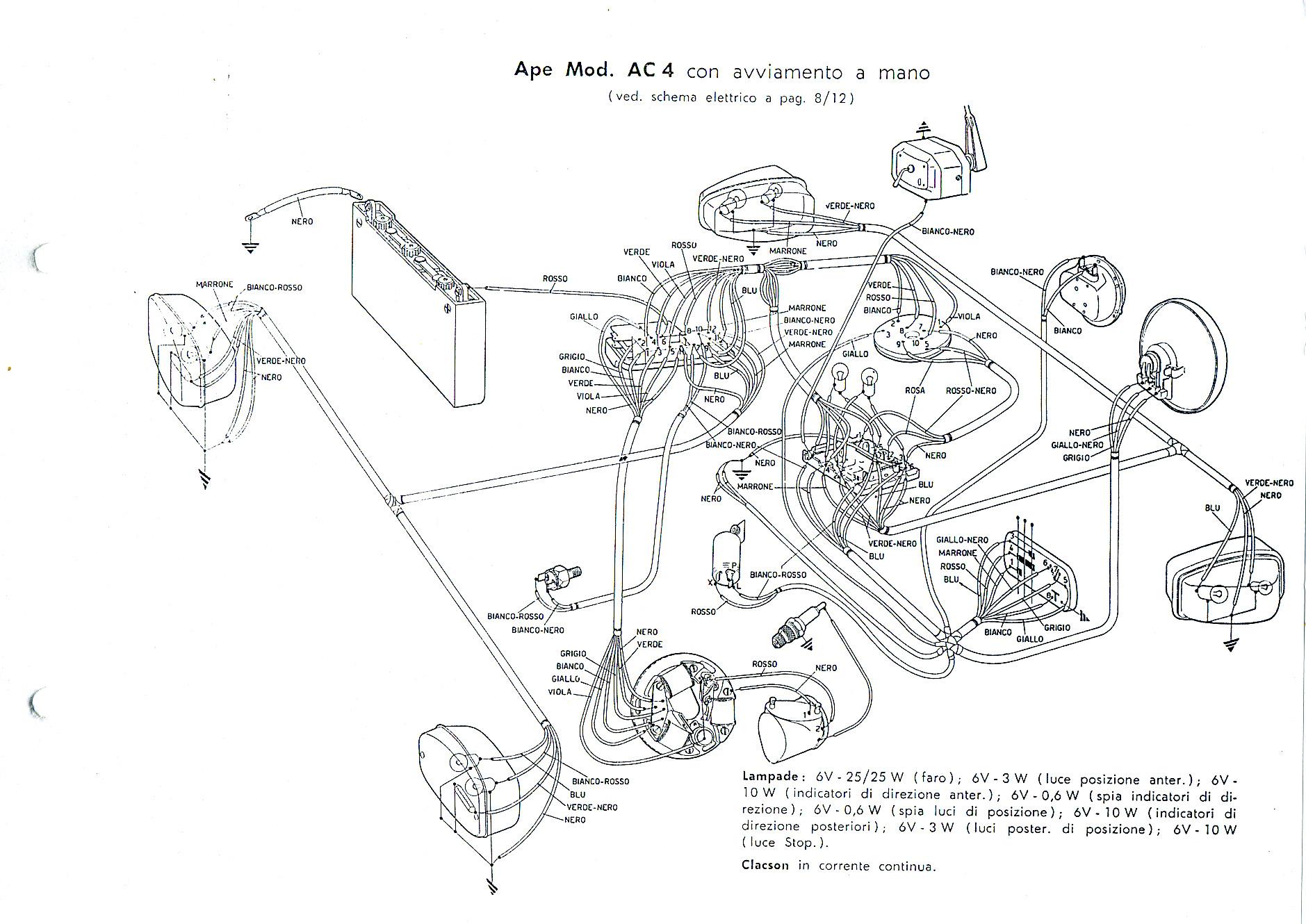 Schema Elettrico Ape 50 : Tecnica ape piaggio ac
